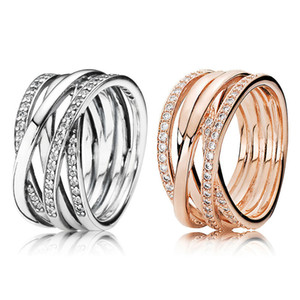 Sparkling Polished Lines Ring High quality Summer Jewelry for Pandora 925 Sterling Silver Women Wedding Rings with Original box 30 O2