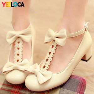 YEELOCA Pumps Women Spring Autumn Sweet Butterfly knot Square heel Round Toe Med Heel Casual Buckle Strap Shoes Woman