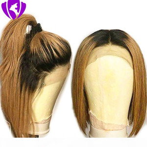 New 360 lace frontal wig Short synthetic Bob Wigs For Women Ombre brown red Remy Brazilian full lace front Wigs for women