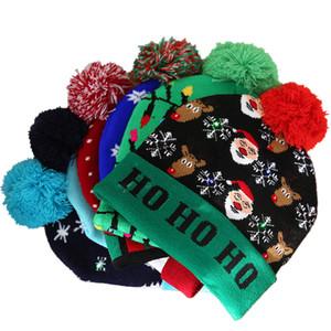2020 Christmas home decoration Led Christmas Hats Knitted Pom Pom Light Xmas Beanies Crochet Winter Hats Deer Elk Gilrs Skull Cap