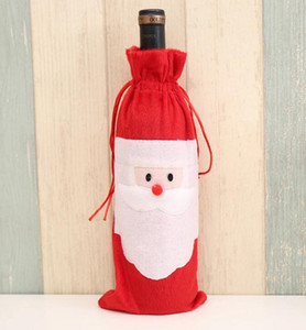200pcs Santa Claus Christmas Decorations Non woven fabric Red Wine Bottle Cover Bags wine Bag