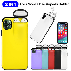 2 In 1 Phone Cases For Airpod New Shell Coque iPhone 11 Pro Max Xs Max Xr X 10 11Pro 7 8 plus With Air Pods Holder Cover Fundas