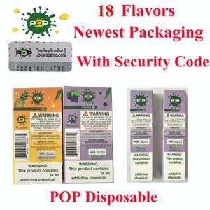 Hochwertige neueste Verpackung Einwegvorrichtung 18 Farben mit Sicherheitscode in 280mAh Akku 1,2 ml Vape vs puff Pop Plus xxl Einweg