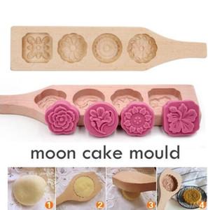Moon Cake Mold DIY caseiro Mooncake Criador madeira 4 Flores Fondant Mousse cookies Mold pastelaria Baking decoração ferramentas FWC3577