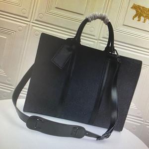 M45265 SAC PLAT الأفقية زيب حقيبة الأعمال CROSSBODY موضة حقائب الرجال الكتف حقيبة قماش جلد الكمبيوتر المحمول حقائب حقيبة رجل الحاسوب