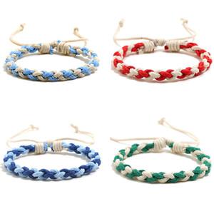 Pulsera de estilo étnico Tejido manual Sencillez Color Joyería Mujeres Moda Moda Mano Cuerda Charm Bracelets Navidad 0 85sh K2B