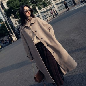 Single Breasted Turn-down Collar Coat And Jacket England Style Sashes Women Long Cashmer Coat Loose Solid Women's Woolen Jacket 201027