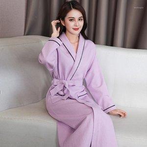Waffle de algodão Bathrobe Mulheres Nightgown Hotel Rouphrobes Plus Size Primavera Outono Bathrobes Sleepwear 1