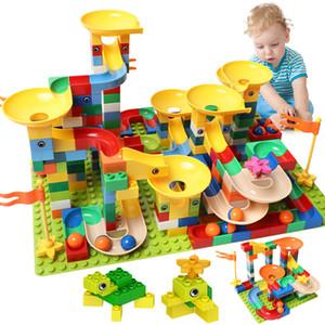 83-332PCS Marble Race Run Duploed Big Size Building Funnel Slide Blocks DIY Bricks Toys For Children Girls