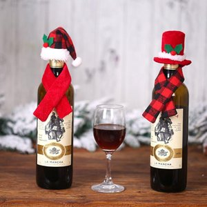 Mini Decorações de Natal Cachecol Hat Two Piece Set Creative vinho garrafa titulares Hats Xmas Red Wine Bottle Detalhes Acessórios HWE2379