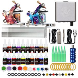 Beginner Tattoo Kit 2 Guns 20 Inks Power Supply Needles Tattoo Supply US Free Shipping D175GD-13