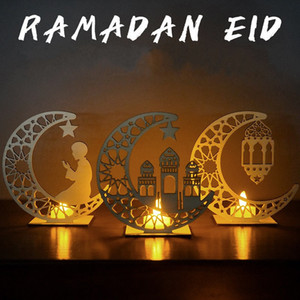 Ramadan Wooden Table Top Decor Mubarak Islam Musulmano Eid Moon Star Star Ornamenti da tavolo Home Office Party Decor GWB4561