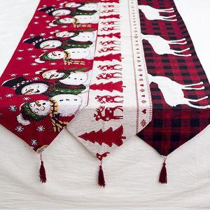 Christmas Gift Linen Elk Snowman Table Runner Merry Christmas Decor for Home 2020 Xmas Ornaments New Year's Decor 2021 Navidad
