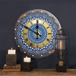 Mandala Diamond peinture horloge 5d métal étain panneaux de broderie de diamant broderie croix croix arts artisanat artisanat bar Pub panneau mural décor 201130