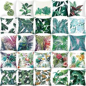 Tropikal Bitkiler Yastık Kapakları Kare Yeşil Atmak Yastık Kılıfı Kol Yastık Kapakları Kanepe Tabure Başucu Dekoratif 45 * 45 CM 4JZA C2