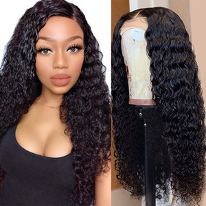 Deep Wave Curly 4x4 Closure Lace Front Human Hair Wigs Brazilian Water Curly Remy Long Frontal Wigs For Black Women Baby Hair