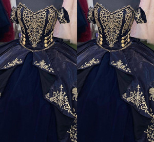 Gold Embroidered Horse Quinceanera Dresses 2021 Navy Blue Ball Gowns Off Shoulder Princess Layers Sweet 16 Dress Graduation Prom Gowns