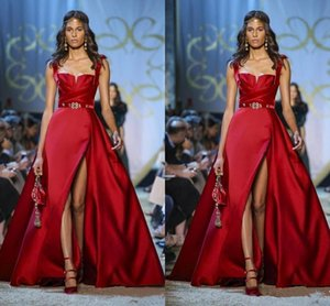 Elie Saab Red Evening Dresses A Line Side Split Prom Dress Formal Party Gowns Special Occasion Dress