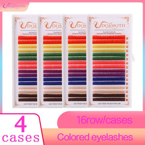 4cases Color False eyelash synthetic ,Natural lashes,individual eyelash extension Red White Brown purple lashs