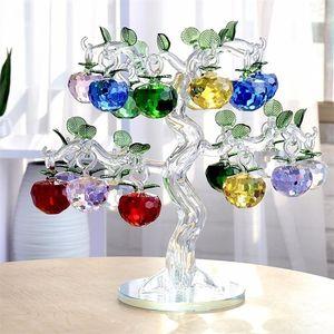크리스탈 사과 나무 12 8 6 사과 fengshui 공예 홈 장식 인형 크리스마스 새 해 선물 기념품 장식 장식품 Y200903