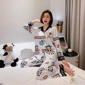 Linda vaca impresión pijama pijama seda pijamas traje cómodo solapa damas casero pijamas mujer dormir ropa de dormir