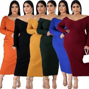 Plus Size Frauen Knit-Kleid Sexy V-Ausschnitt Langarm, figurbetontes Kleid Herbst-Winter-Fest Farbe Frauen Kleidung