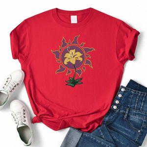 Flor brillar y brillar dibujos animados Imprimir camisetas para mujer T-shirts Tshirts Tshirts Crewneck Tee Ropa Simplicidad suelta camiseta verano # qq77