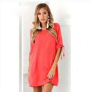 Summer Dress Womens Short Sleeve Casual O neck Loose Dresssolid Color Dress Beach Dresses Plus Size Vestidos