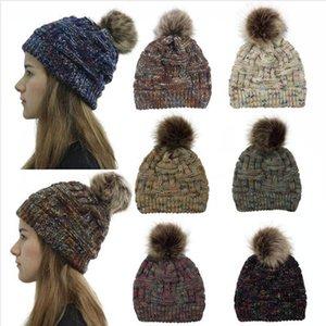 New Tricoté Prêle Hat 7 Styles d'hiver Femmes Pompom Beanie chauffent tricotée épais Outdoor Skulllies Chapeaux DDA619