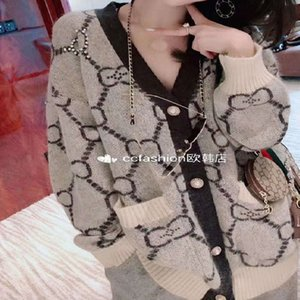 Double g sweater cardigan 2020 new fashion autumn winter heavy industry Beaded loose knitted Mohair coat