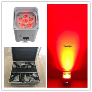 6pcs 6x18W RGBWA+UV 6in1 Hex LED Battery Powered Wireless DMX512 led dmx slim par light With Charging Flight Case