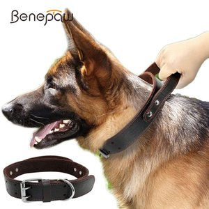 Benepaw Sturdy Genuine Leather Dog Collar Conrol Handle Fashion Durable Heavy Duty Pet Training Collar For Medium Large Dogs 1020
