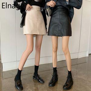 Pelle Elnage stile coreano Pu Retro Slim Fit pacchetto Alta Vita Anca Una parola Gonna per le donne breve Primavera Autunno 5A053 1014