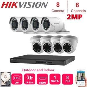 شبكة 2MP هيكفيجن 8 قناة DVR الهجين مسجل فيديو مع 2MP للرؤية الليلية قبة وفي الهواء الطلق الأمن كاميرا KITS