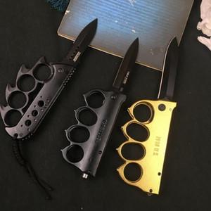 Cuchillo plegable plegable de la función de latón Knuckles al aire libre Camping de autodefensa Cuchillo de la herramienta de acero inoxidable GWF4252
