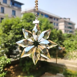 80mm Snowflake Crystal Pendants For Chandeliers Crystals Prisms Suncatcher Pendants Hanging Ornament With Chain Gifts Car Decor H jllTyt