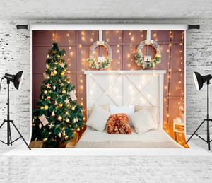 Telón de fondo de Navidad de fondo árboles de navidad decoración de la habitación Fotografía guirnalda del pino decoración de madera Cabecera telones de fondo para la celebración de días de invierno