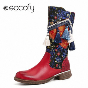 SOCOFY Colorful Tassel Folkways Pattern Genuine Leather Soft Sole Flat Mid Calf Boots Elegant Women Shoes Botas Mujer Df95#