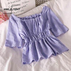 Hwlzltzht 2020 dolce moda chiffon camicette vintage maniche corte elastico femminile camicie corea Blusas chic tops1