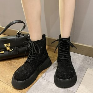 Shining Rhinestones Platform Ankle Boots for Women Black Lace Up Thick Bottom Short Booties Woman Big Toe Shoes Female