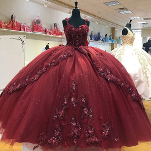 Burgundy Vestidos De Quinceanera Ball Gowns Floral Applique Lace Beaded Sapghetti Sweeheart Lace-up Backless Princess Sweet 15 16 Dress Girl