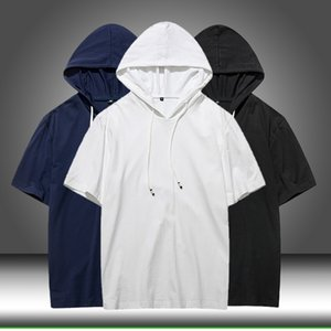 Summer Men tshirt Casual Solid Loose Hooded Tops Tees Shirts Male New Sportswear Hoodie Short Sleeve Mens T-shirt Clothing 201013