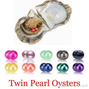 2018 Akoya Oyster Twins Pearl 6 -7mm Round Pearl In Oysters Akoya Oyster Shell With Colouful Pearls Jewelry By Vacuum Packed