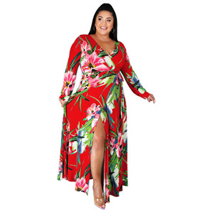 Womens Designer Plus Size Dress Sexy Long Sleeve Floral Printed Dresses Fashion Plus Size Women Clothing