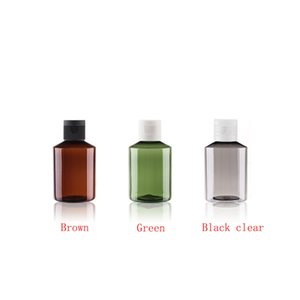 100pcs 50ml Mini brown gree empty cosmetic containers plastic bottle Travel shampoo Eliquid Shower Gel cosmetics packaging