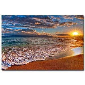 NICOLESHENTING Sunset - Tropical Beach Okyanus Deniz Dalgaları Sanat İpek Poster Skyline Manzara Duvar Resimleri Odası Dekor 006 yazdır
