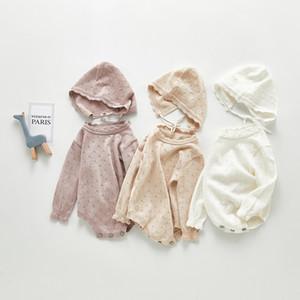 Milancel Baby Ropa Knit Baby Body Body Manga Larga Girls Onesise Boys Boys Ropa con sombrero LJ201023