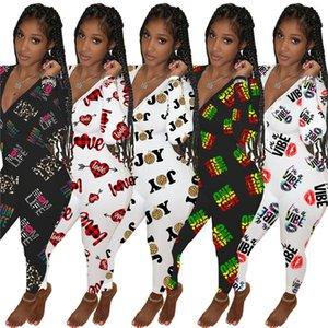 2021 женские с длинным рукавом комбинезоны дизайнеры брюки Rompers Valentines материнский день с низким V шеи боди мода напечатана общая одежда G12107
