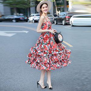2020 Roses Print Maxi Dress Designer Spaghetti Straps dresses women's 8900