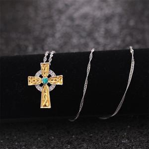 Collares colgantes cruzados Celtic Emerald Green Rhinestone Religión Bendición Collar Cadena Mujeres Chapado en oro Moda delicada Hot 2 5HJ M2